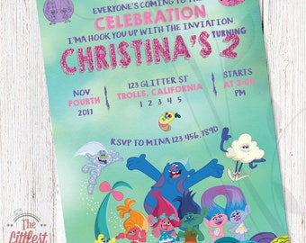 Trolls Invitation - Birthday Invite  - DIGITAL FILE