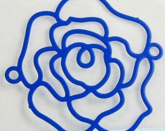 2 prints filigree flower shaped - Diam: 30 mm - color blue - #T5