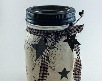 Primitive Decor, Fairy Jars, Mason Jar Lanterns, Mason Jars, LED Lights, Flameless Candles, Night Light, Mason Jar Decor, Gift Idea