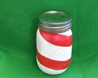 Christmas candy cane jar