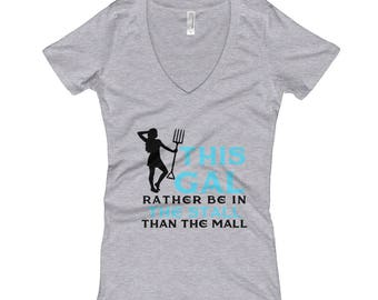 This Gal Rather Be In The Stall..., Womens V-Neck T-shirt