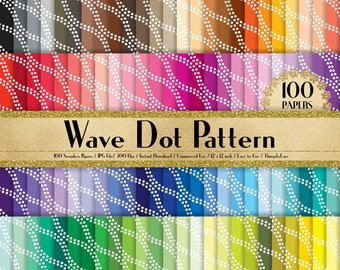 "100 Seamless Wave Dot Papers in 12"" x 12"", 300 Dpi Planner Paper, 100 Digital Paper,Rainbow Paper, Dot Papers, Minimalist Paper"