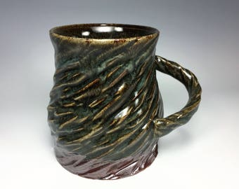 Green Ceramic Mug / Carved Mug / Textured Mug / Unique Mug / Stoneware Mug / Handmade Mug