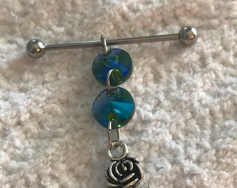 Sparkling faceted green/blue AB glass crystal beads and silver rose charm on 14g silver or black anodized stainless steel industrial barbell