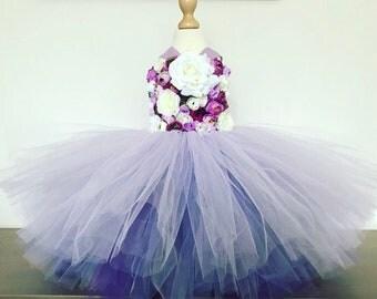 Girls flowergirl tutu dress, Unicorn tutu dress, pirple flower tutu dress.Fairy tutu costume. Bridesmaid,Birthday tutu, princess tutu