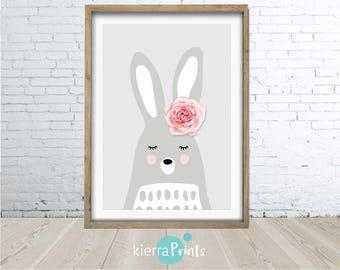 Rabbit Wall Art Print, Bunny Head, Rose, Woodlands Nursery Animal, Digital Download, Large Poster, Colour, Nursery Decor, Cute.