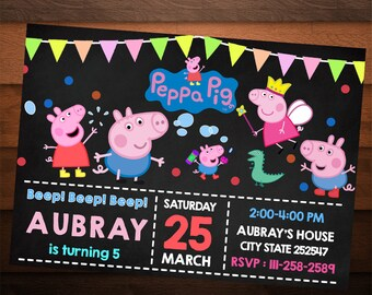 Peppa Pig Invitation, Peppa Pig Birthday, Peppa Pig Party, Peppa Pig Invite, Peppa Pig Birthday Invitation, Chalkboard Invite, Thank You Tag