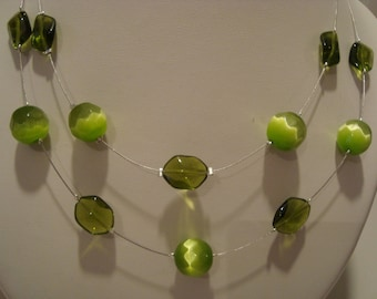 Double green glass bead necklace