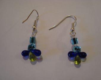 Triple blue-green earrings