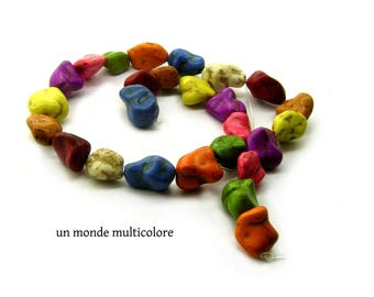 10 color howlite stone beads mixed size 13 x 11 mm - 16 x 10 mm