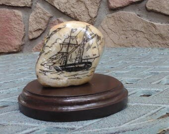 Baltimore Clipper 'Scrimshaw' painted rock