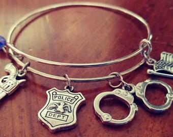Police - Police Department- Adjustable Bangle Charm Bracelet Silver
