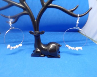 Hoop earrings and howlite