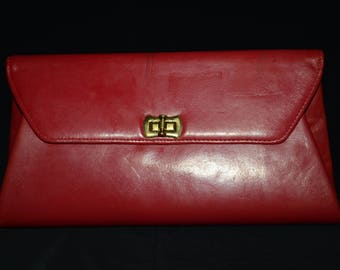 Vintage Red handbag, Gold Tone Clasp, Leather Purse, elegant, Evening handbag, Valentines Day gift