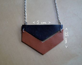 Necklace with Pendant in faux leather