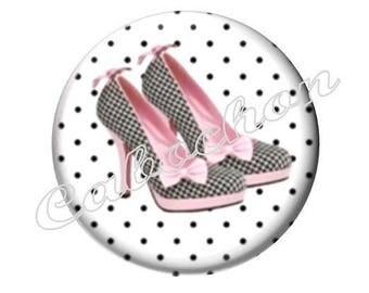 2 cabochons 20mm glass shoe slipper fashion