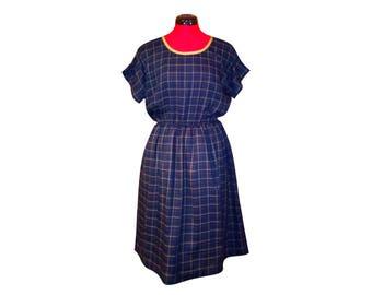 Navy Blue viscose and cotton Plaid dress
