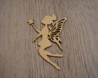 the fairy and wand 1415 large size wooden embellishment
