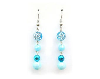 4 blue and turquoise beads earrings