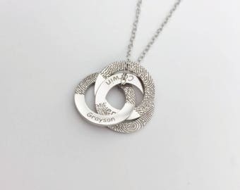 NEW OPEN 20% OFF:Circle links Fingerprint necklace without Black Lines/Bar necklace/Handwriting necklace-Sterling silver with gold plated