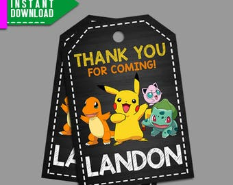 Pokemon Thank You Tag, Pokemon Favor Tag, Pokemon Printable, Pokemon, Editable PDF Template, Instant Download, Editable Instant Download