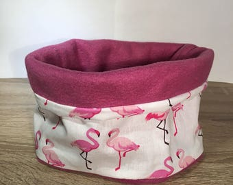 Choker - snood for children - pink flamingos print - cotton fleece, white and pink violet