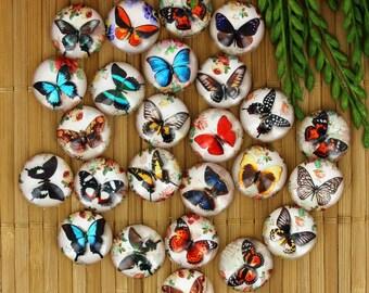 Set of 25 cabochons 16mm glass, butterflies, ZC77