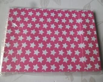 rectangle 10 envelopes x pink white dot 16 x 11.5 cm