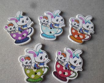 x 5 mixed buttons wooden rabbit/mouse in a multicolored Cup 2 hole 31 x 25 mm