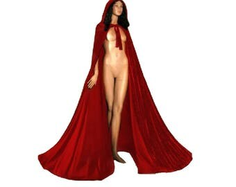 Velvet Hooded Cloak Halloween Gothic Wicca Robe Medieval Witchcraft Larp Woman Cosplay Cape  Masquerade Halloween Red Velvet Hood Cloak