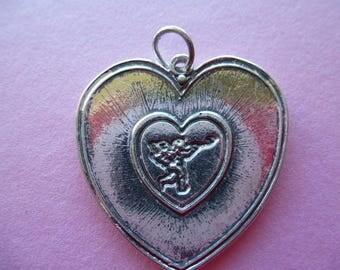 Angel Cupid vintage silver metal heart pendant