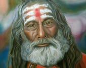 Sadhu Holy Man Acrylic Portrait Painting