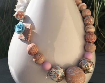 Powder Pink necklace model Brighton