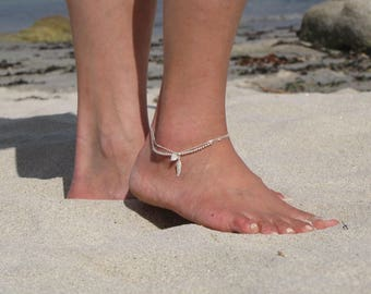 Silver ankle bracelet 925 feather