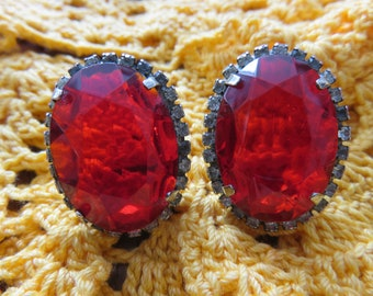 Vintage Large Ruby Red Oval Glass Stone Pierced Earrings with Clear Rhinestone Border, Costume Jewelry