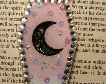 Coffin Glitter Resin Diamonds Moon  Necklace