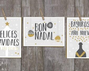 Tres tarjetes Navidá Asturianu