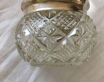 Vintage Small Glass & Sterling Silver Vanity Jar