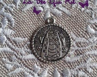 Mexican 25x22mm Virgin medal charm