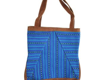 Blue camel suede bag