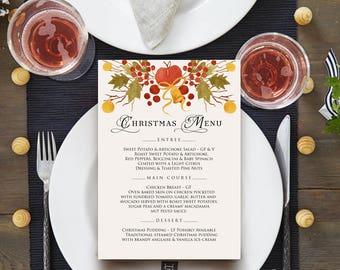 Watercolour Christmas Menu Holiday Menu Printable Xmas Menu Cards Christmas Party Menu Template Winter Berries Leaves Bell Menu Editable PDF