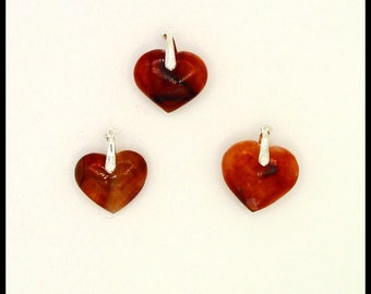 Agate pendants-carnelian heart shaped cut