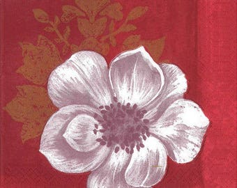 2 Burgundy flower (334) paper napkins