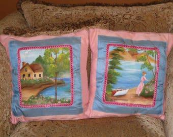 Set of Silk Handpainted Pillows