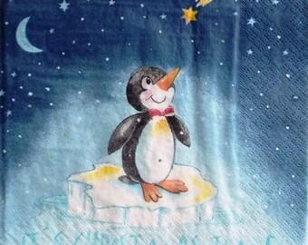 TOWEL in paper Penguin in the night #E051