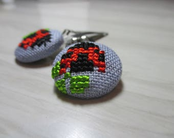 "Embroidered hair Duo ""Ladybug"""