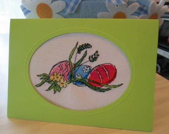 "Custom embroidered Passover card ""three eggs with flowers"""