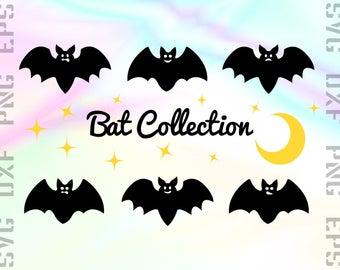 Bat SVG Files - Bat Dxf Files - Bat Clipart - Halloween Bat Cricut Files - Bat Cut Files - Bat Silhouette - Svg, Dxf, Png, Eps Vectors