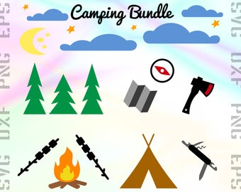 Camping SVG Files - Camp Clipart - Outdoor Cricut Files - Camping Dxf Files - Camping Cut Files - Camping Png - Svg, Dxf, Png, Eps Vectors