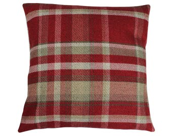 Skye Red Checked Tartan Plaid Cushion Cover
